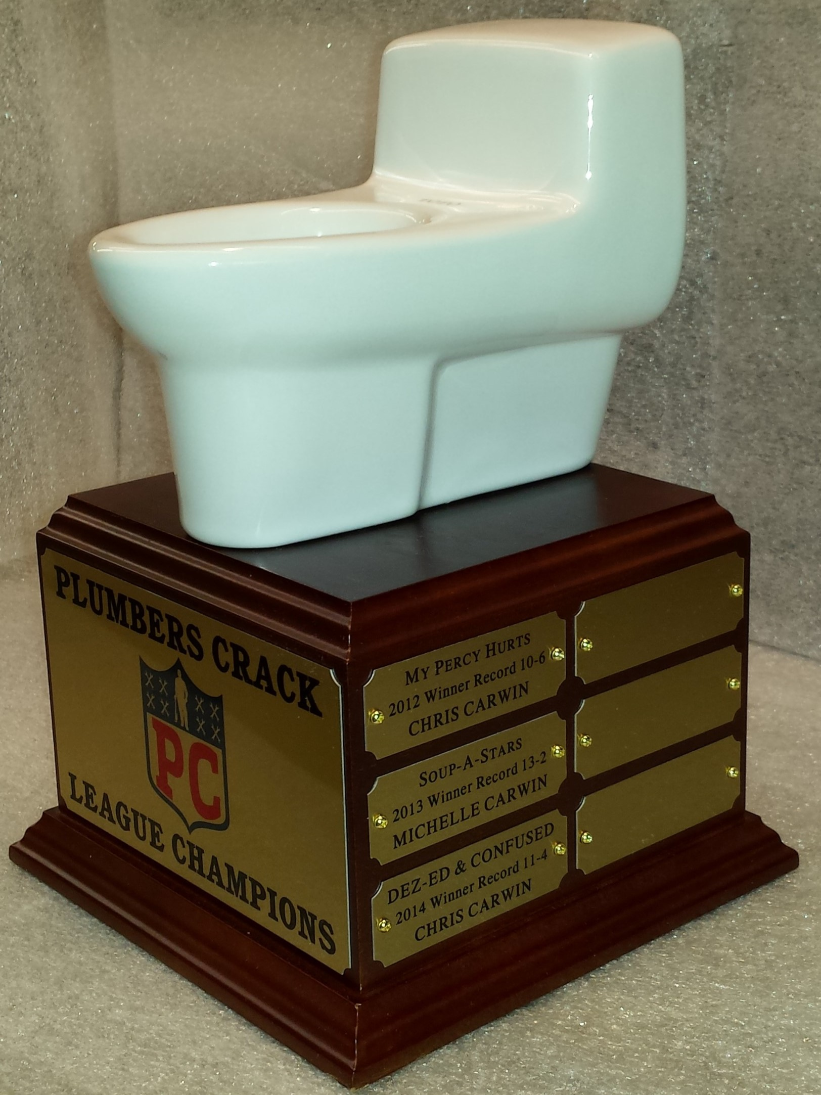 Fantasy Football League Trophies Plumbers Crack